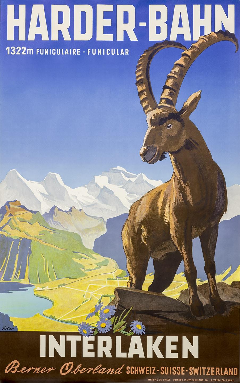 Nostalgic Poster Harder railway mountain ibex