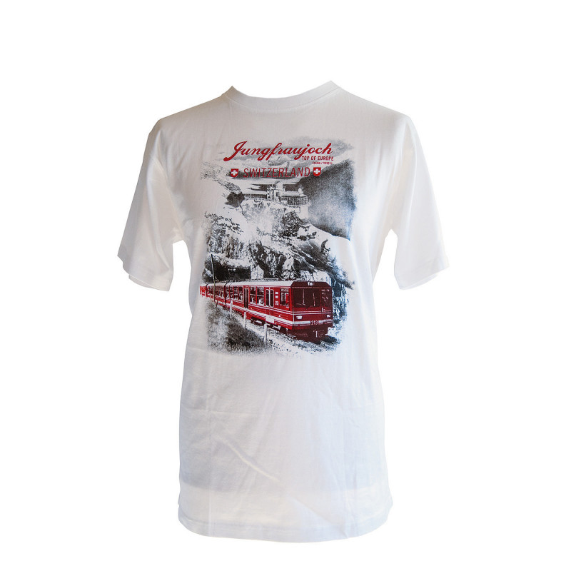 T-Shirt Jungfraujoch Official Collection, men, white with Sphinx and Jungfrau Railway print