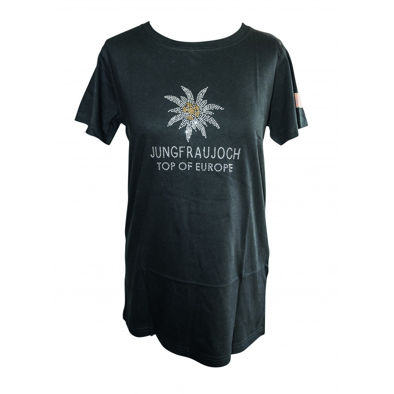 T-Shirt Jungfraujoch Official Collection, Damen, schwarz mit Edelweis