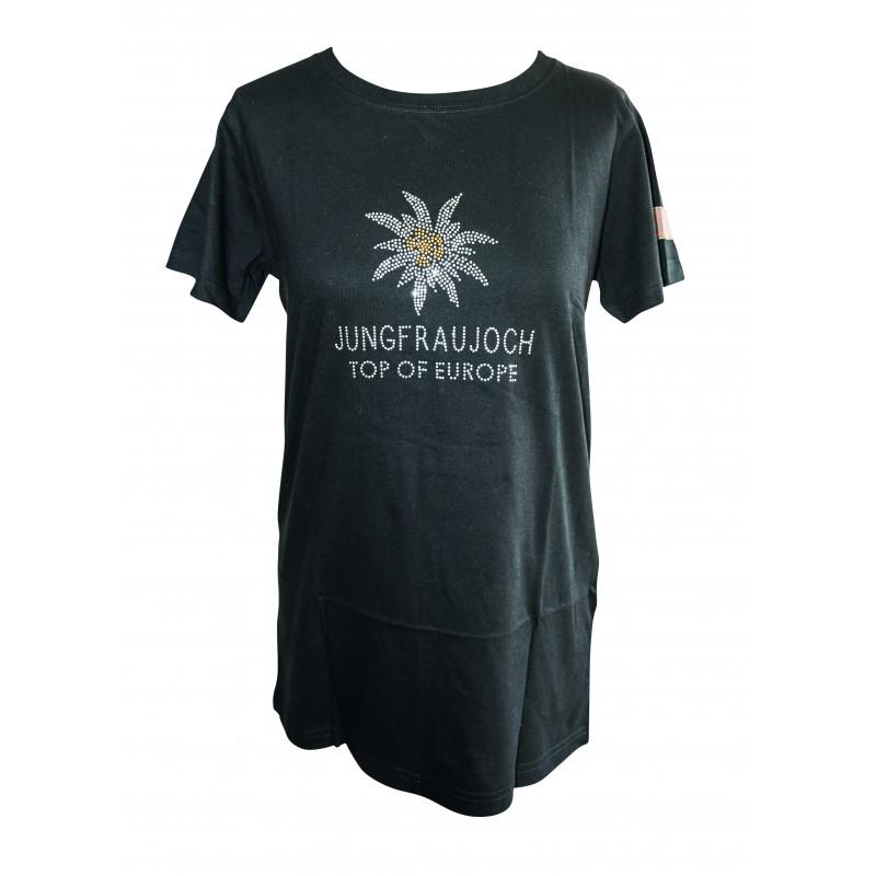 T-Shirt Jungfraujoch Official Collection, Damen, schwarz mit Edelweis