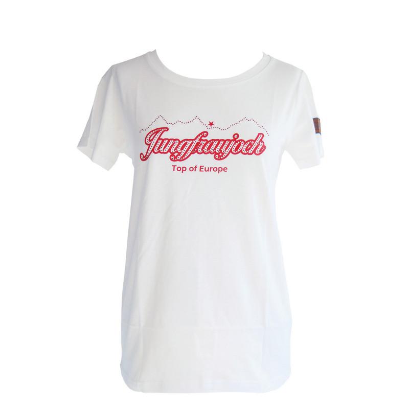 T-Shirt Jungfraujoch Official Collection, femme, blanc avec l'inscription Jungfraujoch et une chaîne de montagnes