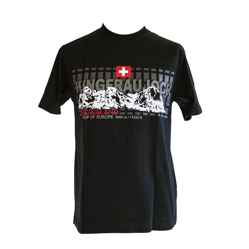 T-shirt Jungfraujoch Official Collection, homme, noir avec imprimé tendance
