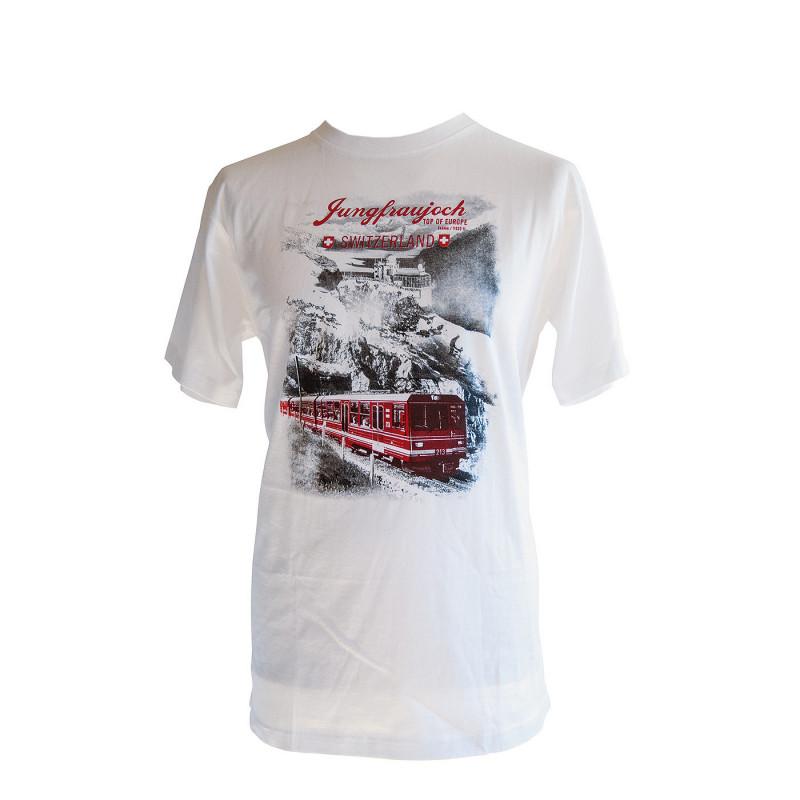 T-Shirt Jungfraujoch Official Collection, homme, blanc avec un imprimé du Sphinx et de la Jungfrau Bahn